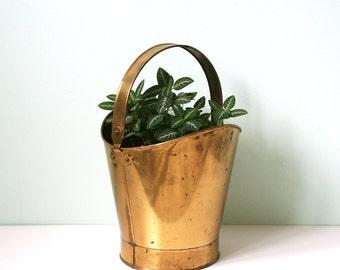 Vintage brass hoop planter, 60's, hollywood regency, mid century