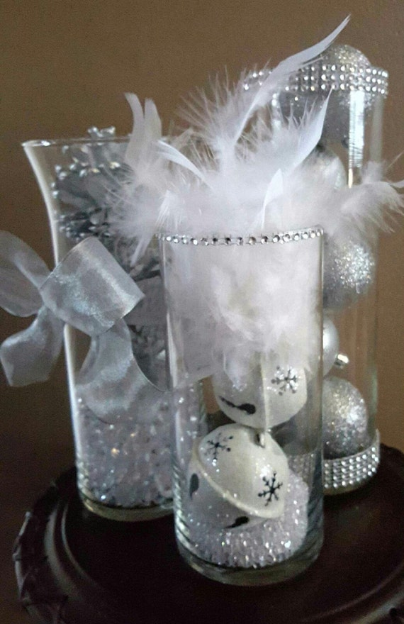 Winter Wonderland Christmas Wedding Ideas.Winter Wonderland Wedding Reception Centerpiece Decor Silver Glitter Christmas Bridal Ornaments Feathers Diamonds Ribbon Party Vase Set Of 3
