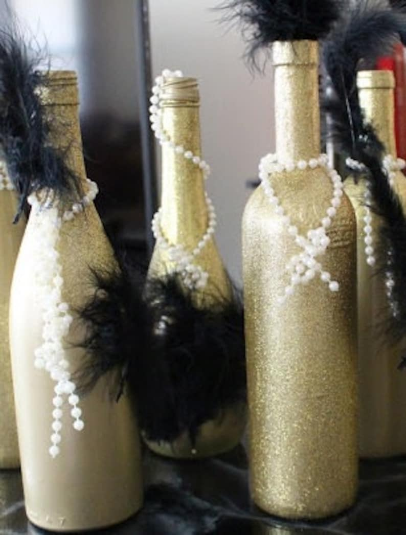 Wedding Centerpiece Wine Bottle Set Great Gatsby Feathers Etsy