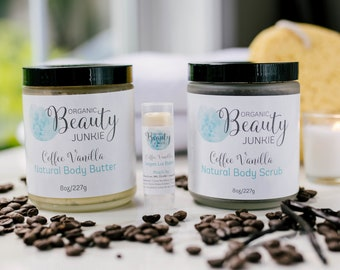 Body Butter, Body Scrub, Lip Balm, Coffee Body Lotion, Graduation Gift,  Vegan Skincare Set, Coffee Lip Balm, Coffee Body Scrub