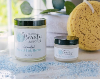 Natural Deodorant - Natural Body Butter -Spa Gift - Organic Body Products - Unscented Deodorant - Unscented Body Butter - Vegan Skincare