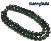 Certificated Grade A Natural Jade et Hand carved Necklace Girl Chain Jadeite Round bead Size 8mm Green gemstone Burma 老油青