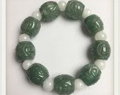 BIG beads 16mm Jade Grade A Natural Jadeite Hand carved Jade Round bead man bangle men 39 s Bracelet male Chain Burma stone string rope