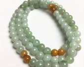 Certificated Grade A Natural Jade et Hand carved Necklace Chain Jadeite Round bead Size 5 5mm gemstone