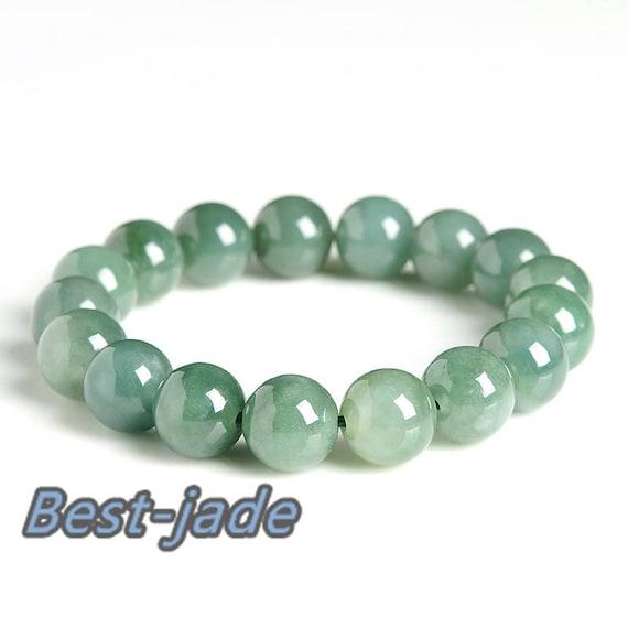 Certificated ICE Jade Grade A  Natural Jadeite Hand carved Jade Round bead bangle Bracelet Chain Burma stone Armband string rope