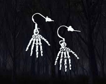 1de681710 50% SALE Skeleton Hand Earrings..Skeleton Earrings..Zombie Earrings..Halloween  Earrings..Halloween Jewelry..925 Silver Wire..FREE SHIPPING
