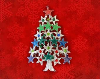 50% SALE..Christmas Tree Pin..Christmas Tree Brooch..Christmas Star Pin..Star Brooch..Christmas Pin..Silver Christmas Tree.Christmas Jewelry