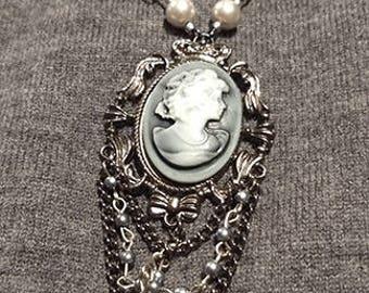 Gunmetal Gray Pearl Cameo Necklace