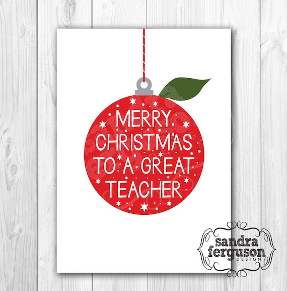 image regarding Printable Christmas Cards for Teachers known as 5X7 Printable Merry Xmas in direction of a Ideal Instructor\