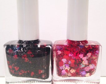 Lover's Overdose and Black Valentine DUO - The Valentine's Collection - handmade in the UK Indie Nail Polish - 5ml or 10ml