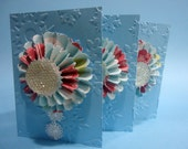 """Christmas Card """"Merry Christmas"""" in blue tones with 3D rosettes. Christmas card handmade with Merry Christmas"""