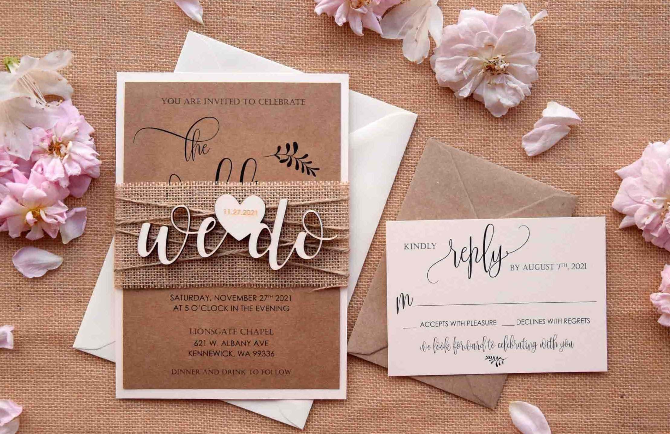 7426d79e9aa35 We Do Rustic Wedding Invitations, Custom Wooden Wedding Invitations,  Personalized Rustic Wedding Invites, Rustic Laser Cut Wedding Invites