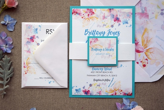 Watercolor Tiffany Blue Wedding Invitation And Yellow Colorful Marriage Invitationa
