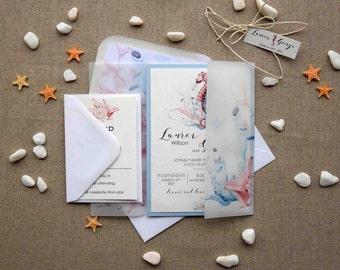 Watercolor Beach Wedding Invitation, Custom Seahorse Wedding Invitations, Personalized Blue Destination Wedding Invitation Cards