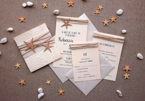 When To Send Out Wedding Invitations For Destination Wedding: Destination Wedding Invitation Rustic Beach Wedding