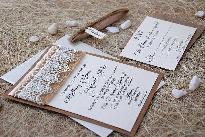 Lace Wedding Invitation Burlap And Rustic Marriage