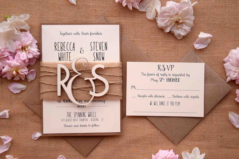 Wooden Monogram Wedding Invitations Custom Wedding Etsy