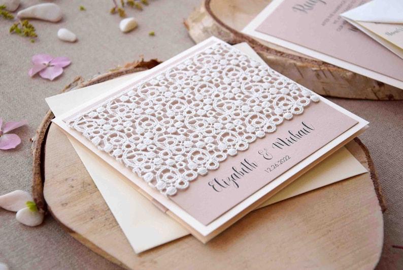 Ivory Lace Wedding Invitations Custom Personalized Marriage Pocket Invitation Set Elegant Invite