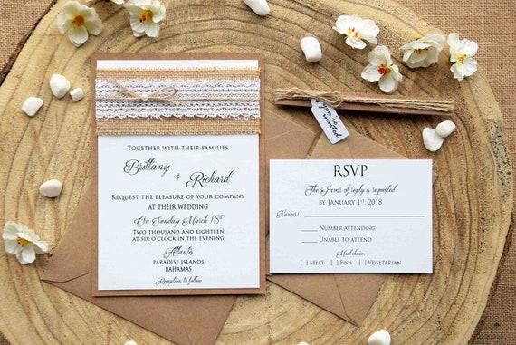 Burlap Wedding Invites Lace Wedding Invitation Rustic Lace Etsy