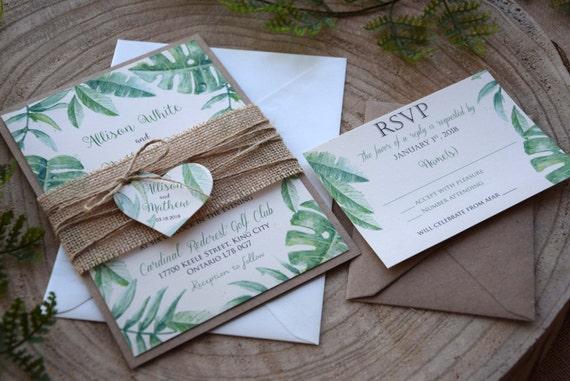 Rustic Green Wedding Invitations Tropical Greenery Leaves Etsy