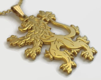 24 Carat Gold Plated English Lion Necklace - Heraldic Lion Rampant Jewellery - An engraved golden lion pendant on a delicate chain