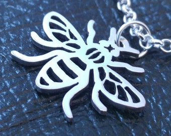 Sterling Silver Manchester Worker Bee Necklace - Delicate silver bee jewellery piece - A handmade pendant necklace with matching chain