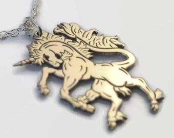 925 Sterling Silver Scottish Unicorn Necklace - Unicorn Jewellery - An engraved Scottish gift - a silver unicorn pendant on a delicate chain