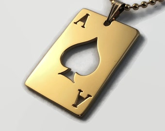 Gold Ace of Spades Pendant - Gold Plated Sterling Silver Necklace