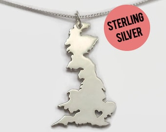 Sterling Silver Great Britain Necklace for Long Distance Relationship Couples - A British boyfriend or girlfriend's romantic jewelry gift