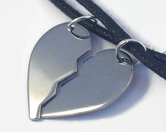 b2210e9487 Matching Stainless Steel Half Heart Necklaces - Couples Set - Unique split  heart sold as a matching couple's set for boyfriend & girlfriend