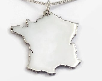 Sterling Silver France Necklace for Long Distance Relationship Couples - A French boyfriend or girlfriend's romantic jewelry gift