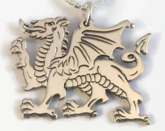 925 Sterling Silver Welsh Dragon Necklace - Celtic Dragon Jewellery - An engraved Welsh gift - a silver dragon pendant on a delicate chain