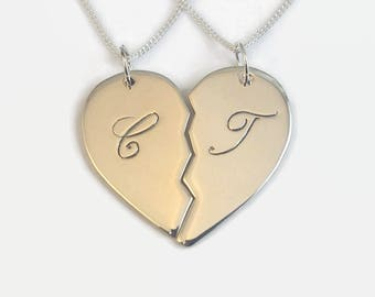 ca8b2ba7b3 Matching Engraved Sterling Silver Half Heart Necklaces - Couples Set -  Unique split heart sold as a matching couple's set