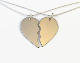 92a9a96422 Matching Sterling Silver Half Heart Necklaces - Couples Set - Unique split  heart sold as a matching couple's set for boyfriend & girlfriend