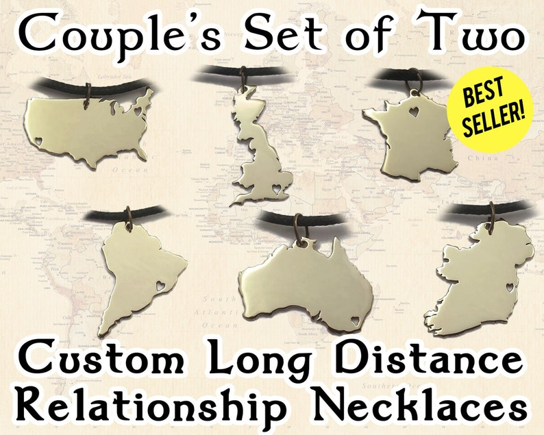 Couples Necklace Set  Long Distance Relationship Necklaces  image 0