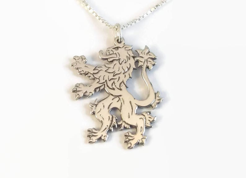An engraved silver lion pendant on a delicate chain 925 Sterling Silver English Lion Necklace Heraldic Lion Rampant Jewellery