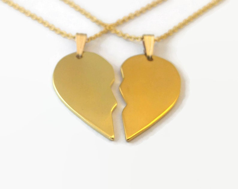 aff7324998 Matching 24 Carat Gold Plated Half Heart Necklaces Couples | Etsy