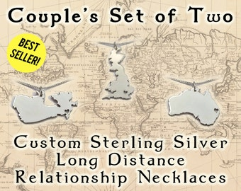 Couples Sterling Silver Long Distance Relationship Necklace Set - Romantic Jewelry - Matching LDR Pendants -  boyfriend or girlfriend gift