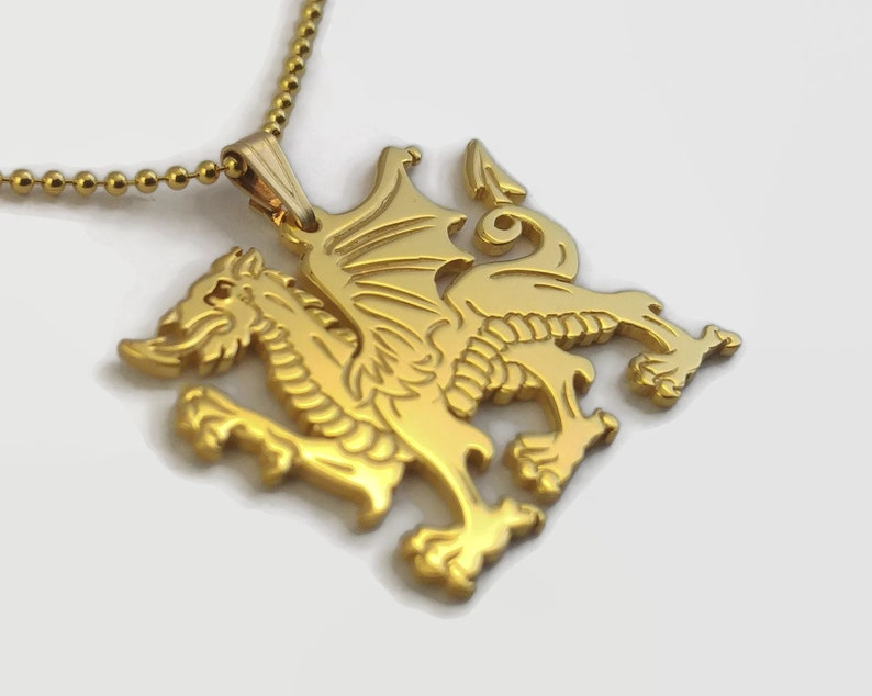 24 Carat Gold Plated Welsh Dragon Necklace  Celtic Dragon image 0