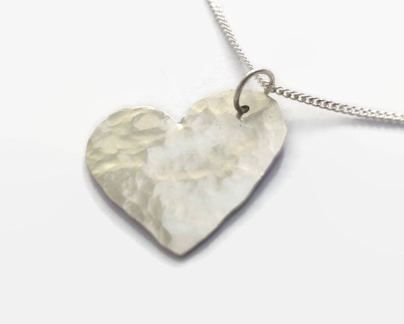 A beautiful romantic gift Sterling Silver Heart Pendant Necklace 925 sterling silver with a hammered finish