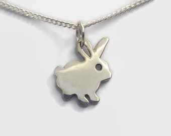 Tiny Sterling Silver Rabbit Necklace - Animal Jewelry, a Sterling Silver Bunny Rabbit Charm on a delicate chain - Perfect for rabbit owners