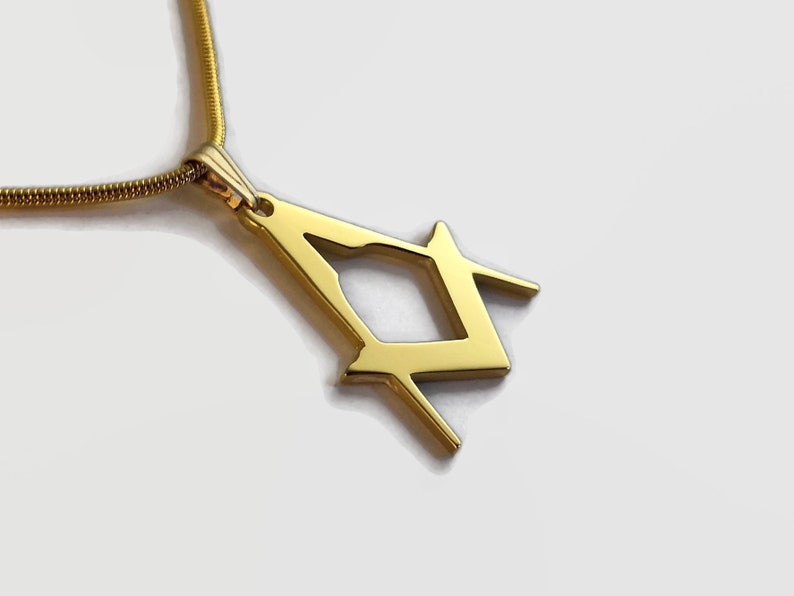 24 Carat Gold Plated Square & Compasses Charm Pendant Necklace image 0