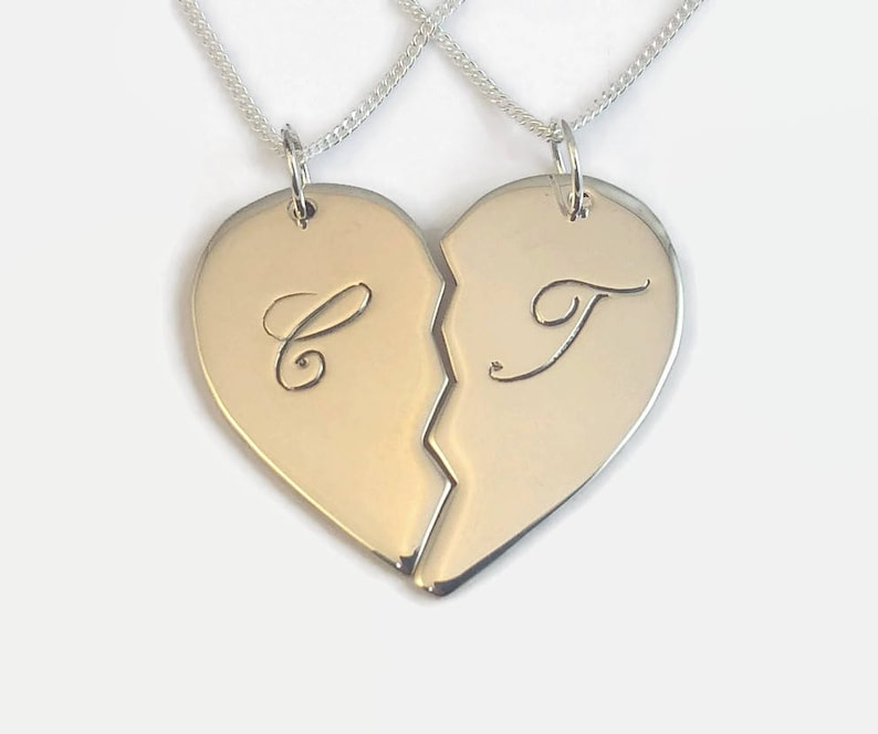 Couple necklace set in sterling silver Hand engraved /& personalised with initials names and dates Couples Split Heart Necklace Set