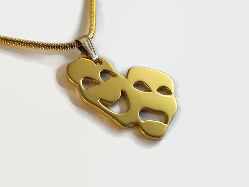 24 Carat Gold Plated Drama Necklace  Gold Theatre Masks image 0