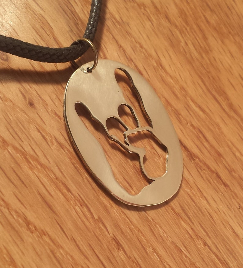 Perfect for any metalhead or rocker Devil Horns Pendant Heavy Metal Jewelry in Brass Copper or Aluminium on Black Cord