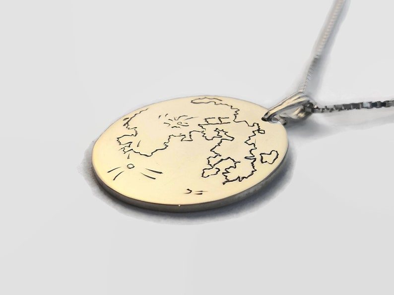 925 Sterling Silver Full Moon Necklace  Lunar Necklace  image 0
