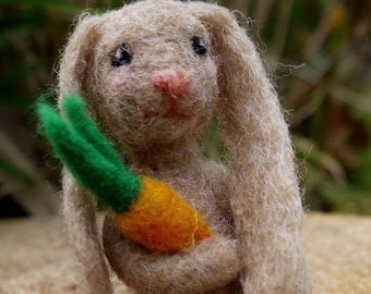 easter bunny, needlefelted easter bunny, rabbit with carrot, miniature rabbit, needlefelted animal, long ear bunny, floppy ear bunny, easter
