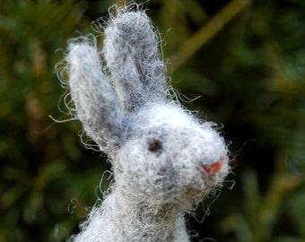 needle felted bunny, miniature bunny, miniature hare, needle felted animal, easter bunny, easter home decor, felt easter bunny, waldorf felt