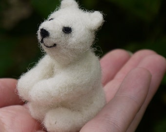 needle felted polar bear, miniature polar bear, christmas decor, needle felted miniature, felt white bear, needle felted animal, woodland