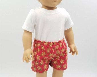 """Boxers and T Shirt for 18"""" Boy Doll Like American Girl's Logan; Boy Doll Flannel Boxer Shorts; Boy Doll Underwear; Boy Doll Sleepwear"""